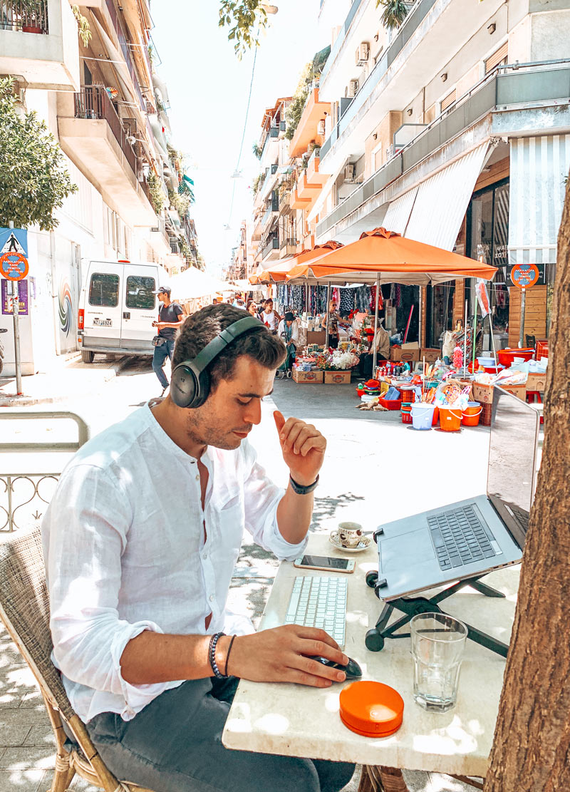 Athens Digital Nomad Man Travel