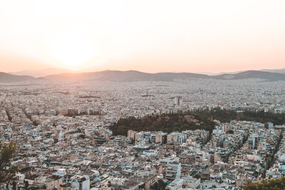Athens Lycabettus Hill Greece Sunset