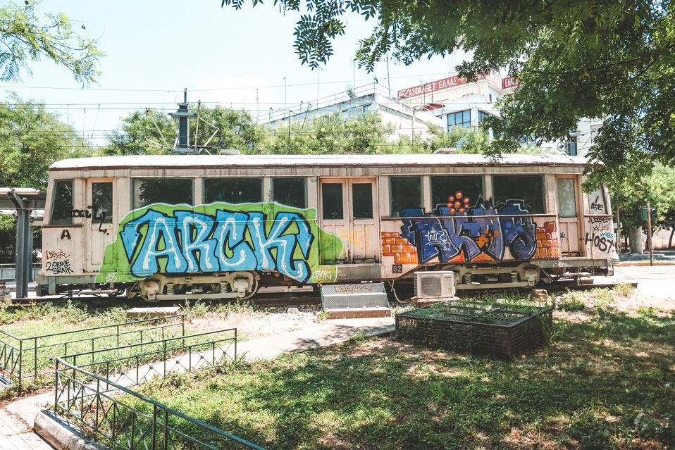 Tram Athens Graffiti Greece